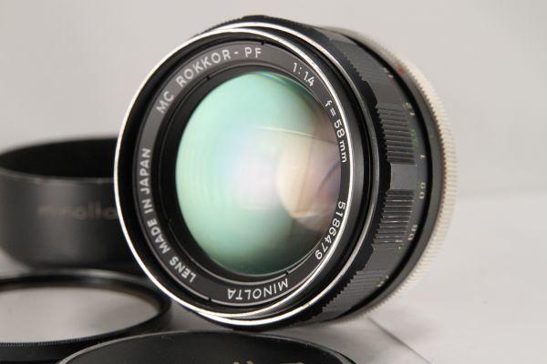 ★訳あり特上品★ミノルタ MINOLTA MC ROKKOR PF 58mm F1.4★動作OK 希少★70300_レンズフードあり