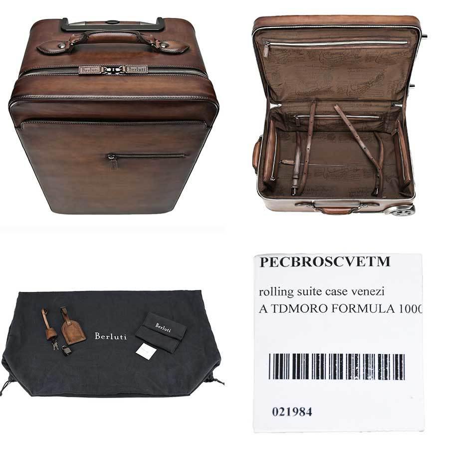 ベルルッティ Berluti FORMULA 1000 フォーミュラ キャリーバッグ レザー ブラウン 茶 トロリー スーツケース ビジネス 新同品_画像8