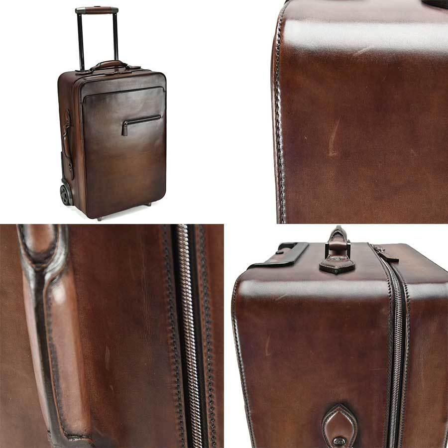 ベルルッティ Berluti FORMULA 1000 フォーミュラ キャリーバッグ レザー ブラウン 茶 トロリー スーツケース ビジネス 新同品_画像9
