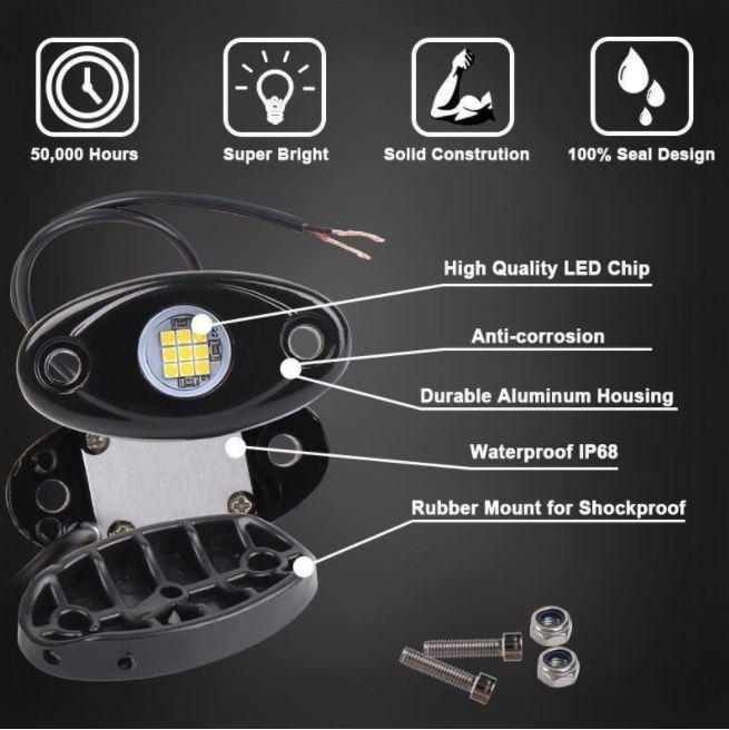 [送料無料] 最新 レッド8個セット LEDロックライト スポット アンダー ライト_画像2