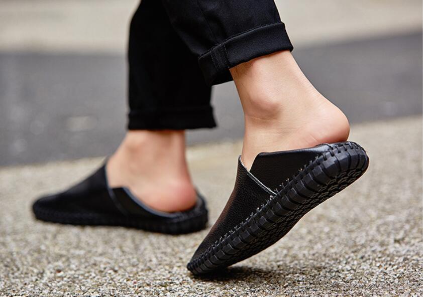 カジュアルシューズ 新品 スリッポン メンズ ローファー ドライビング 紳士靴 滑り 止め 柔らかい スリッパ 黒 25cm 上質_画像4