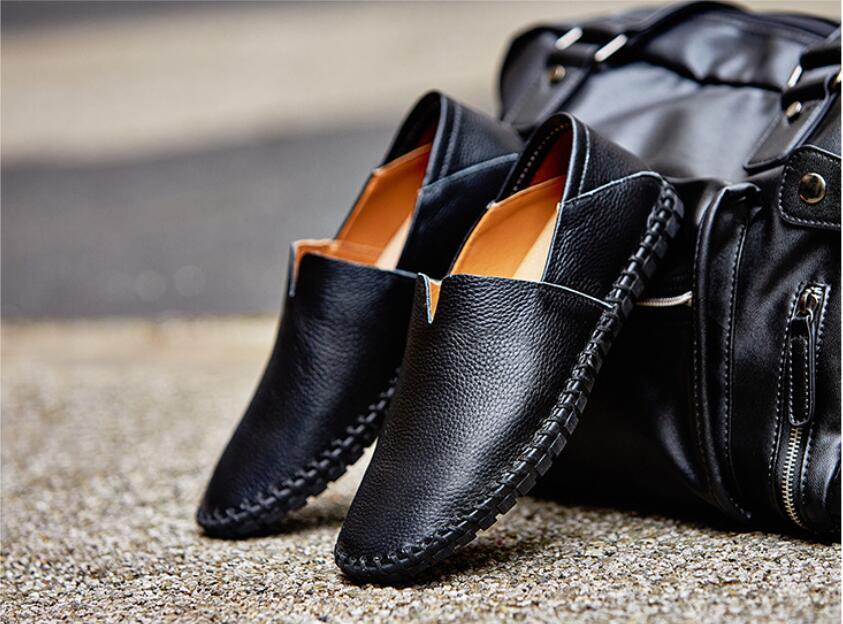 カジュアルシューズ 新品 スリッポン メンズ ローファー ドライビング 紳士靴 滑り 止め 柔らかい スリッパ 黒 25cm 上質_画像3
