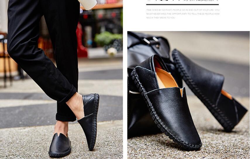 カジュアルシューズ 新品 スリッポン メンズ ローファー ドライビング 紳士靴 滑り 止め 柔らかい スリッパ 黒 25cm 上質_画像2