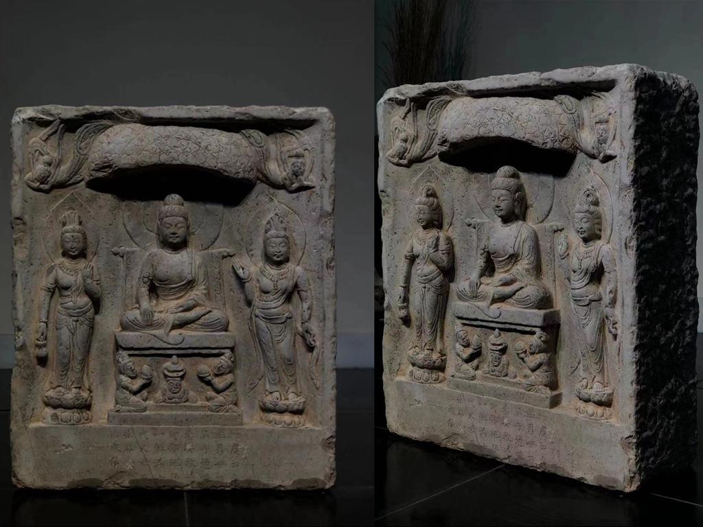 【大阪美術】 仏教美術 仏像 青石 佛 龕 石彫 仏教文化 古置物 高さ51cm 厚さ19cm 幅60cm DM-d-007