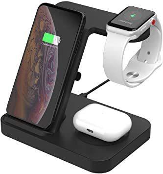 ブラック SIKAI ワイヤレス充電器 For iphone / apple watch 5 (OS6) / airpods p_画像1