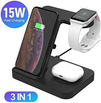 ブラック SIKAI ワイヤレス充電器 For iphone / apple watch 5 (OS6) / airpods p_画像4