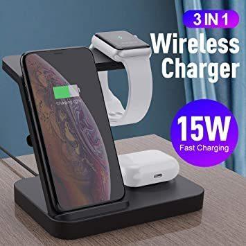 ブラック SIKAI ワイヤレス充電器 For iphone / apple watch 5 (OS6) / airpods p_画像2