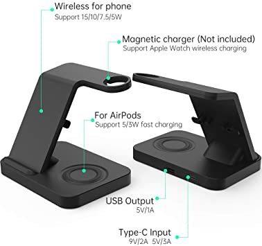 ブラック SIKAI ワイヤレス充電器 For iphone / apple watch 5 (OS6) / airpods p_画像6