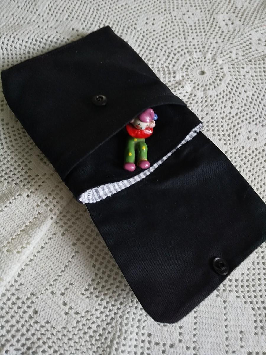 ハンドメイドマチ付き移動ポケット帆布製(黒)