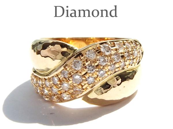 h-18☆K18 ダイヤモンド 0.43ct デザインリング 11号