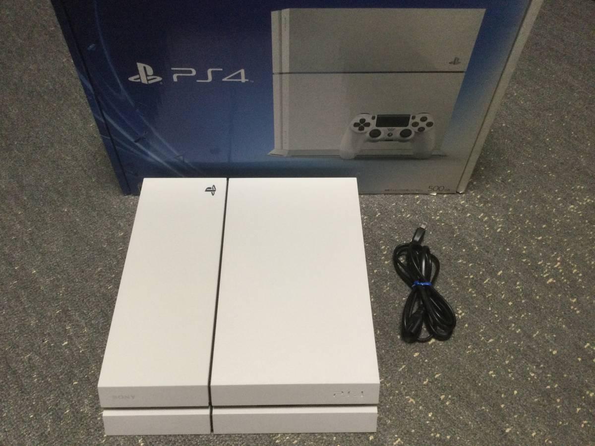 (中古)SONY プレイステーション4 PS4本体 500GB CUH-1100AB02 グレイシャー・ホワイト 本体のみ 状態A 美品 (送料無料)