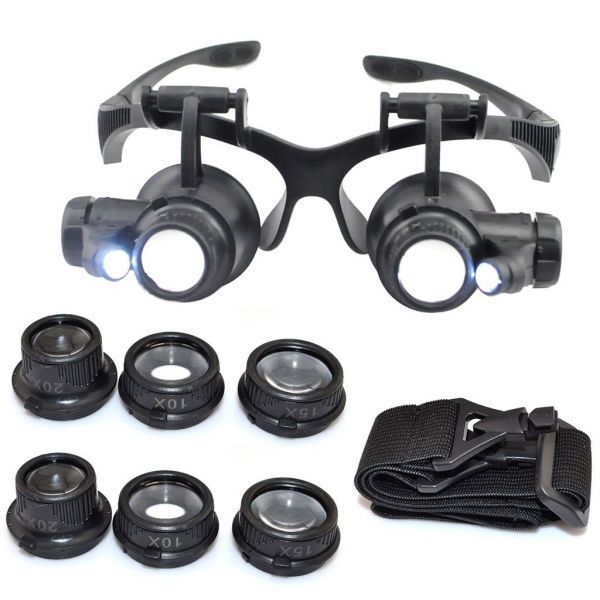 sending 380 jpy *10-25 times LED attaching glasses type head magnifier R magnifying glass V
