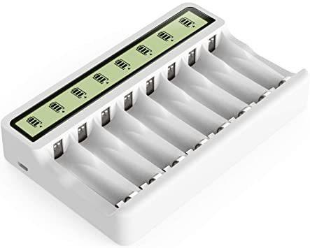 新品セール価格 BRホワイト Powerowl急速電池LCD充電器単三単四ニッケル水素/ニカド充電池に対応H8-QJ8本同時充電可能 電_画像1
