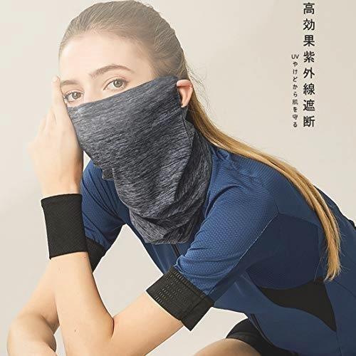 新品 吸汗速乾 UVカット フェイスカバー ネックガード 耳かけ ネックカバー 冷感 日焼け防止 ランニング NVH9_画像5