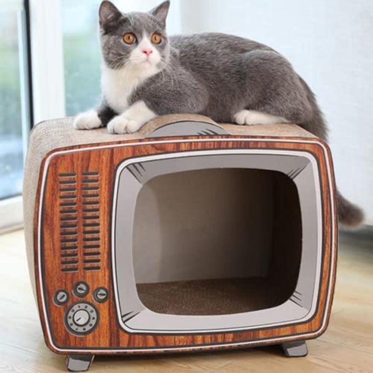 猫 爪とぎ爪研ぎレトロ風テレビ型 43 x 23 x 36cm 猫 つめとぎトンネル猫ハウス段ボール高密度 大型 猫ベッド爪とぎベ