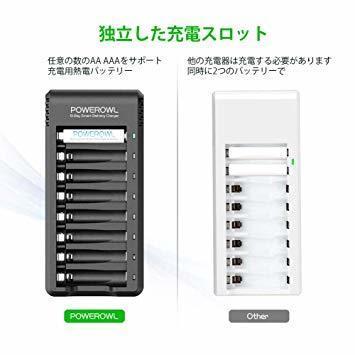 Powerowl 急速電池充電器 単三単四ニッケル水素 ニカド充電池に対応 8本同時充電可能_画像2