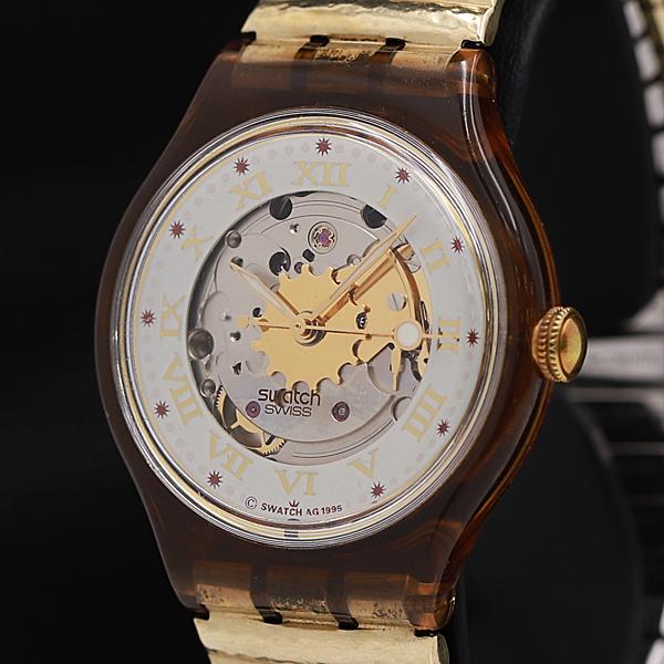 1円★稼働品【スウォッチ】スイス製 ローマン 23石 スケルトン AT メンズ腕時計 A0073768