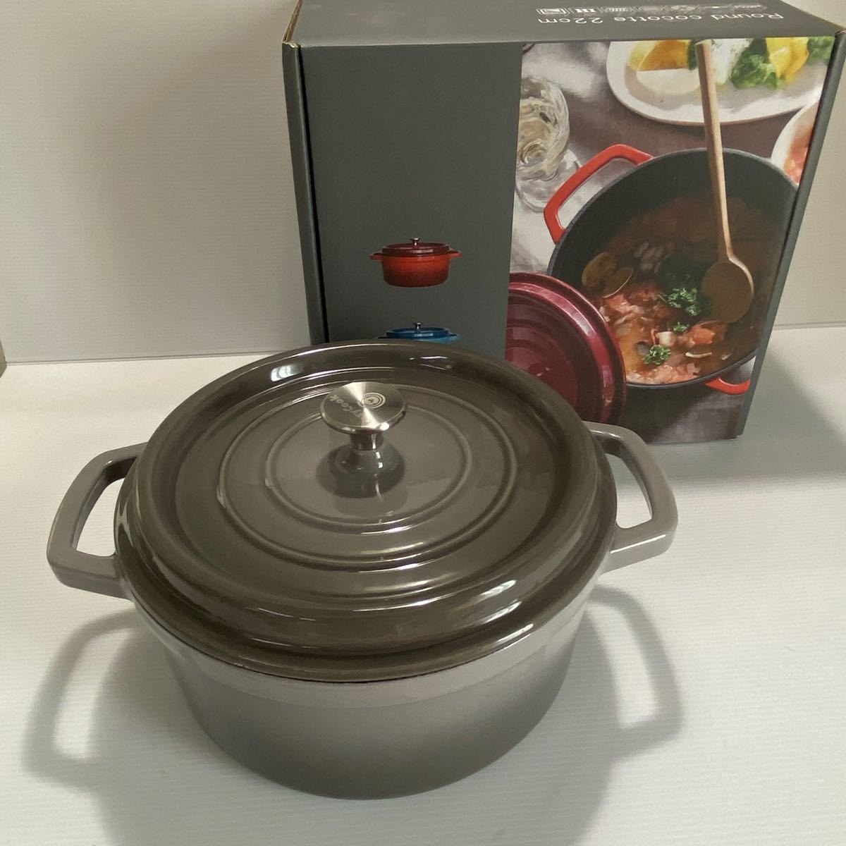 コージークック 鋳物ホーロー鍋 ラウンドココット GLAY