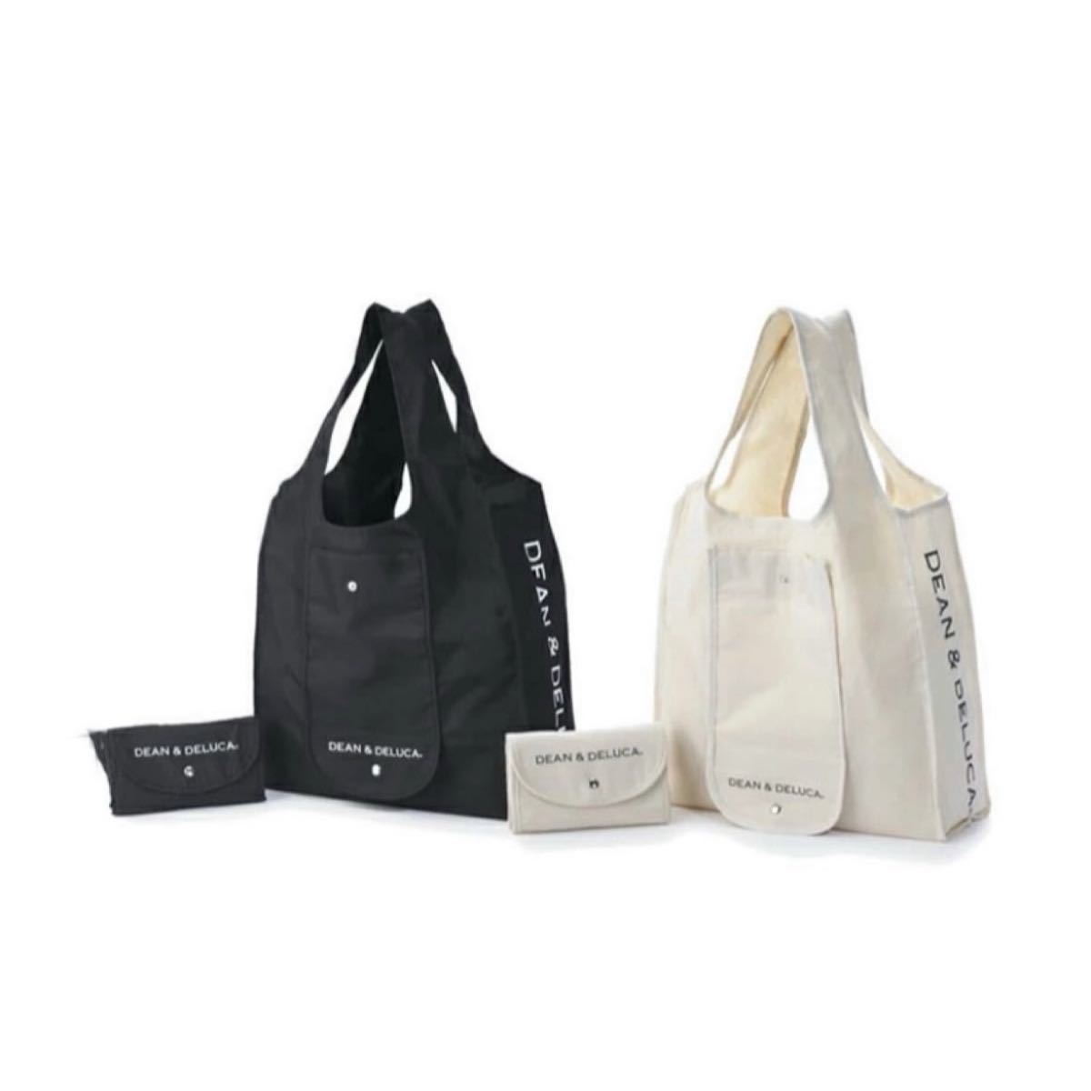 DEAN&DELUCA ディーンアンドデルーカ ショッピングバッグ エコバッグ ブラック ナチュラル 2コセット