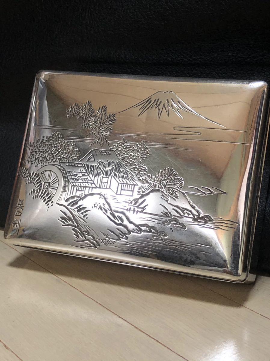 【純銀】蓋物・煙草入れ・小物入れ・田中貴金属販売・『美正』刻・224g