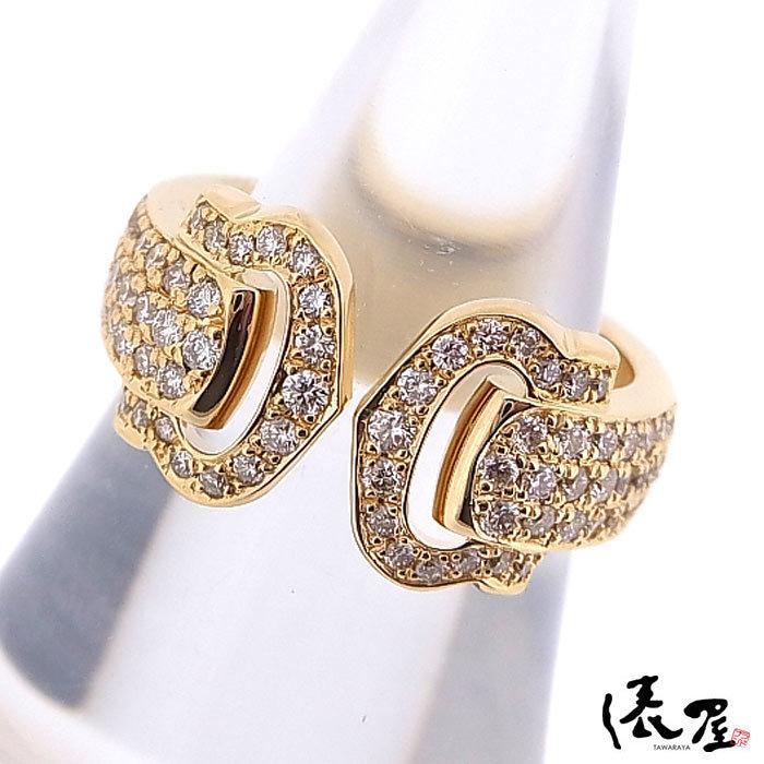 【カルティエ】ブークルセリング K18 750 YG パヴェダイヤモンド #47 加工後未使用 Cartier_画像2