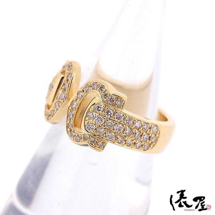 【カルティエ】ブークルセリング K18 750 YG パヴェダイヤモンド #47 加工後未使用 Cartier_画像3