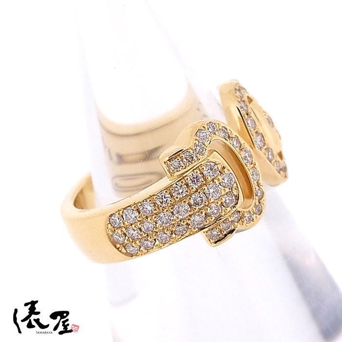 【カルティエ】ブークルセリング K18 750 YG パヴェダイヤモンド #47 加工後未使用 Cartier_画像4