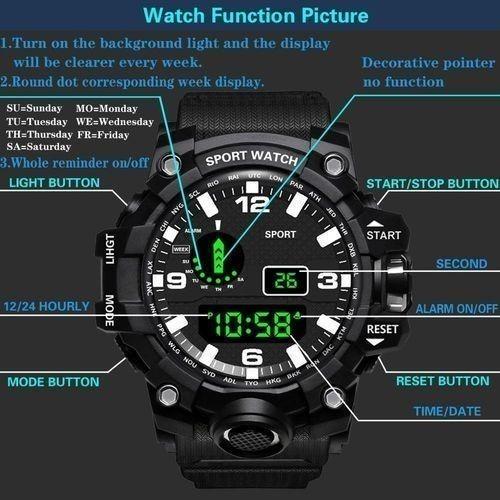 ☆大特価☆ファッション メンズ腕時計防水 メンズボーイ 液晶デジタルストップウォッチ 日付 スポーツ腕時計 レロジオリロイ Q7 選べる3色_画像5