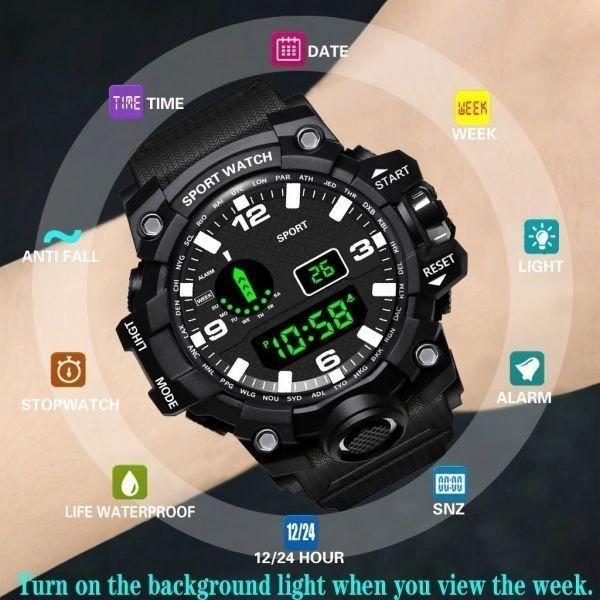☆大特価☆ファッション メンズ腕時計防水 メンズボーイ 液晶デジタルストップウォッチ 日付 スポーツ腕時計 レロジオリロイ Q7 選べる3色_画像6