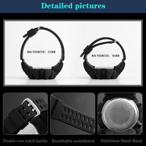 ☆大特価☆ファッション メンズ腕時計防水 メンズボーイ 液晶デジタルストップウォッチ 日付 スポーツ腕時計 レロジオリロイ Q7 選べる3色_画像9