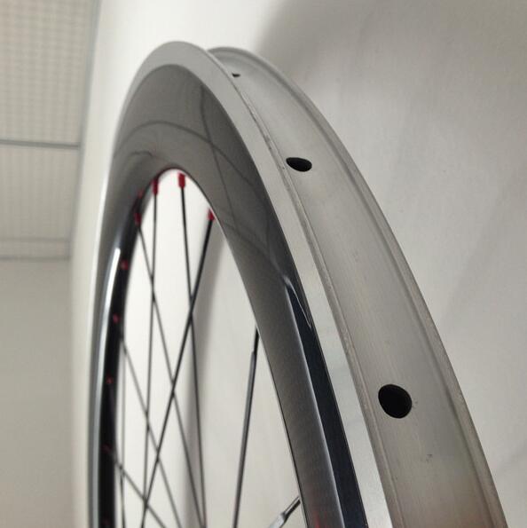 アルミブレーキ カーボンホイールセット 700C リム高60mm ロード/ピスト用 前後セット クリンチャー 自転車ホイール_画像3
