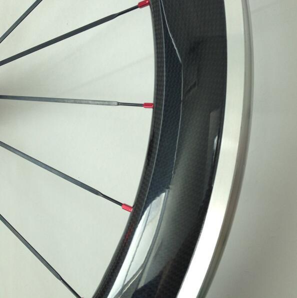 アルミブレーキ カーボンホイールセット 700C リム高60mm ロード/ピスト用 前後セット クリンチャー 自転車ホイール_画像2