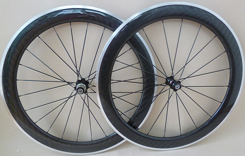 アルミブレーキ カーボンホイールセット 700C リム高60mm ロード/ピスト用 前後セット クリンチャー 自転車ホイール_画像1