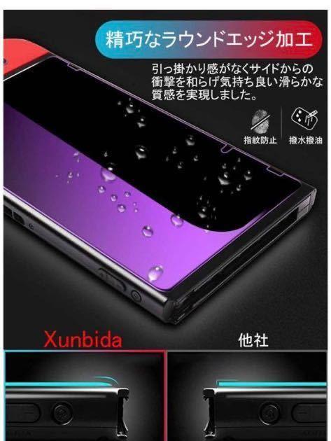 Nintendo Switch用 ガラスフィルム 強化ガラス 保護フィルム 【ブルーライトカット】 日本「旭硝子」素材製 指紋防止