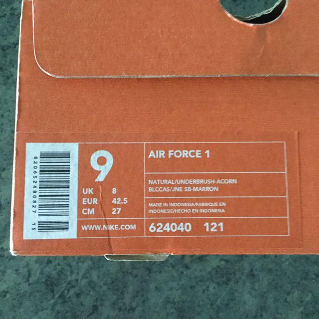 デッドストック NIKE AIR FORCE 1 LOW ACORN US9 624040 121 ナイキ エアフォース1 ロー エイコーン エイコン どんぐり 27cm ベージュ_画像8