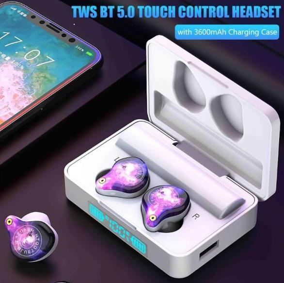 bluetooth5.0ワイヤレスイヤホン 大容量3600mah 自動ペアリング 高音質HIFI ノイズリダクション 防水 iphone/android/PC ホワイト_画像1