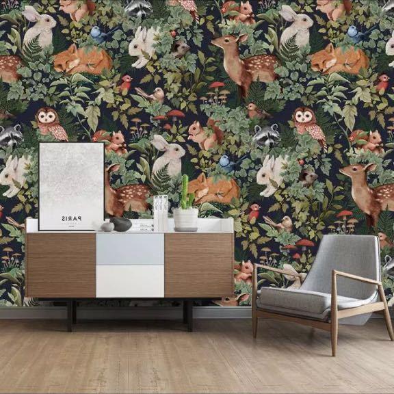 【オリジナルサイズオーダー可能】カスタムサイズ中世熱帯雨林植物壁紙 壁画子供部屋 動物ジャングルレストランb & b pvcリビングルーム_画像1