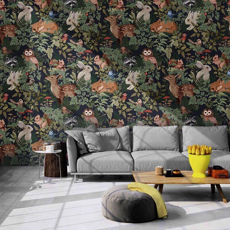 【オリジナルサイズオーダー可能】カスタムサイズ中世熱帯雨林植物壁紙 壁画子供部屋 動物ジャングルレストランb & b pvcリビングルーム_画像2