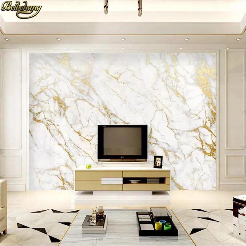 Beibehangカスタム壁紙壁画ゴールドシルクジャズ白大理石の壁論文の家の装飾壁紙リビングルームpapelデparede 3D壁紙 _画像2