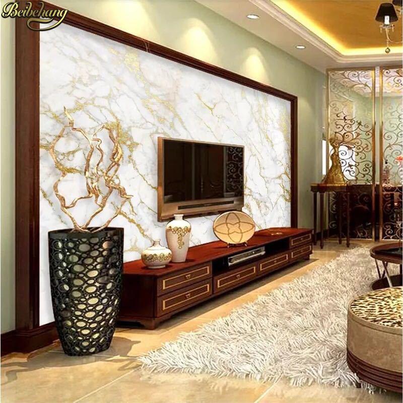 Beibehangカスタム壁紙壁画ゴールドシルクジャズ白大理石の壁論文の家の装飾壁紙リビングルームpapelデparede 3D壁紙 _画像3
