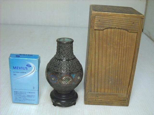 【蔵出】⑤古い七宝焼の花器 木製台座付 箱入 壺 花瓶 花生け 時代物
