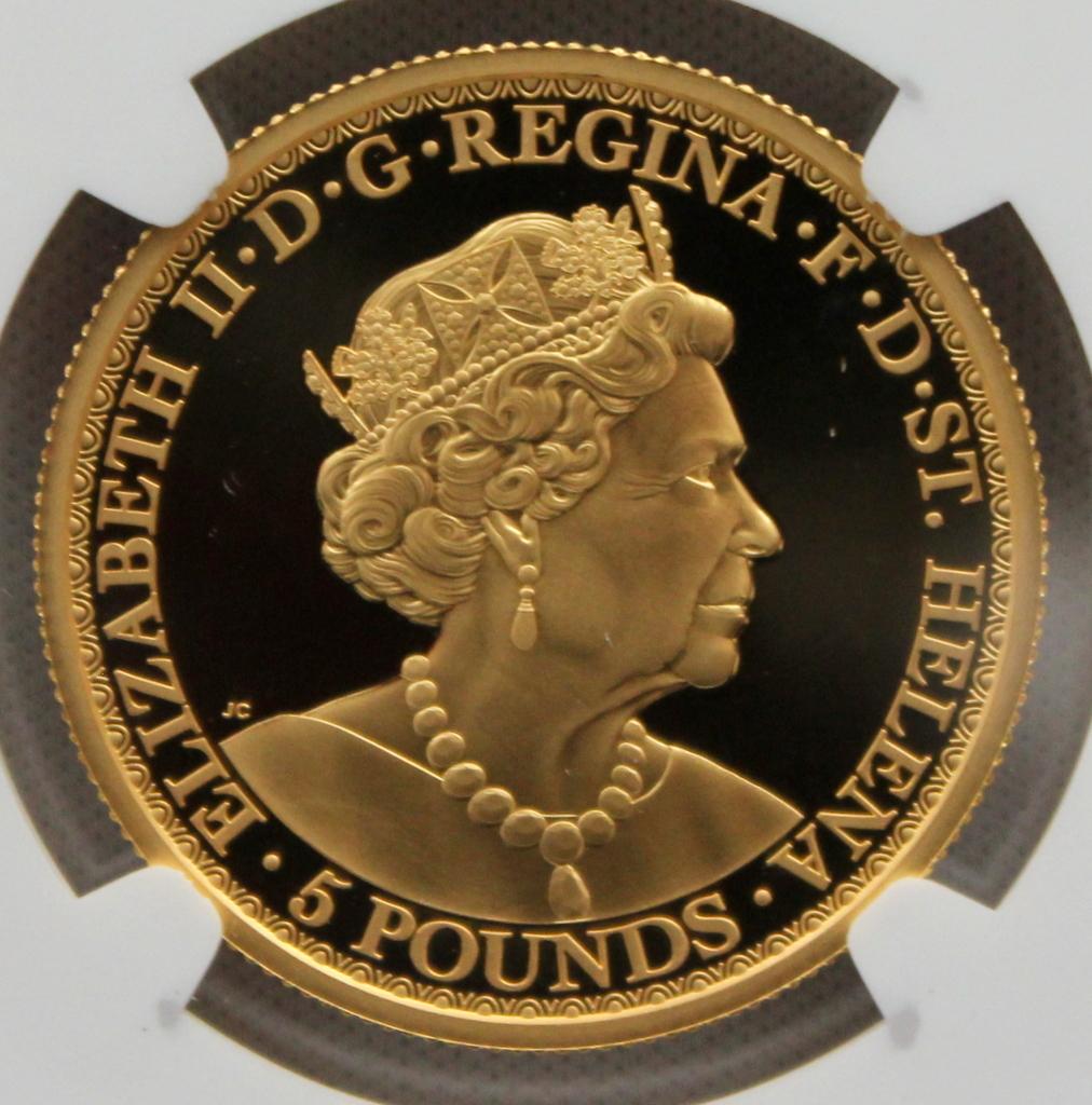 2020年 イギリス領 セントヘレナ ウナとライオン 5ポンド 金貨 NGC PF70UC 最高鑑定品!!_画像6