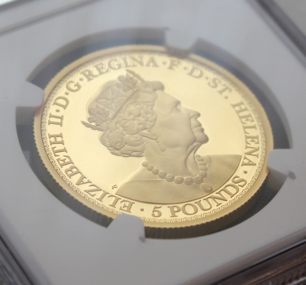 2020年 イギリス領 セントヘレナ ウナとライオン 5ポンド 金貨 NGC PF70UC 最高鑑定品!!_画像8