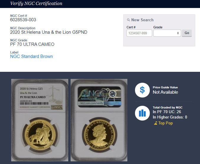 2020年 イギリス領 セントヘレナ ウナとライオン 5ポンド 金貨 NGC PF70UC 最高鑑定品!!_画像10