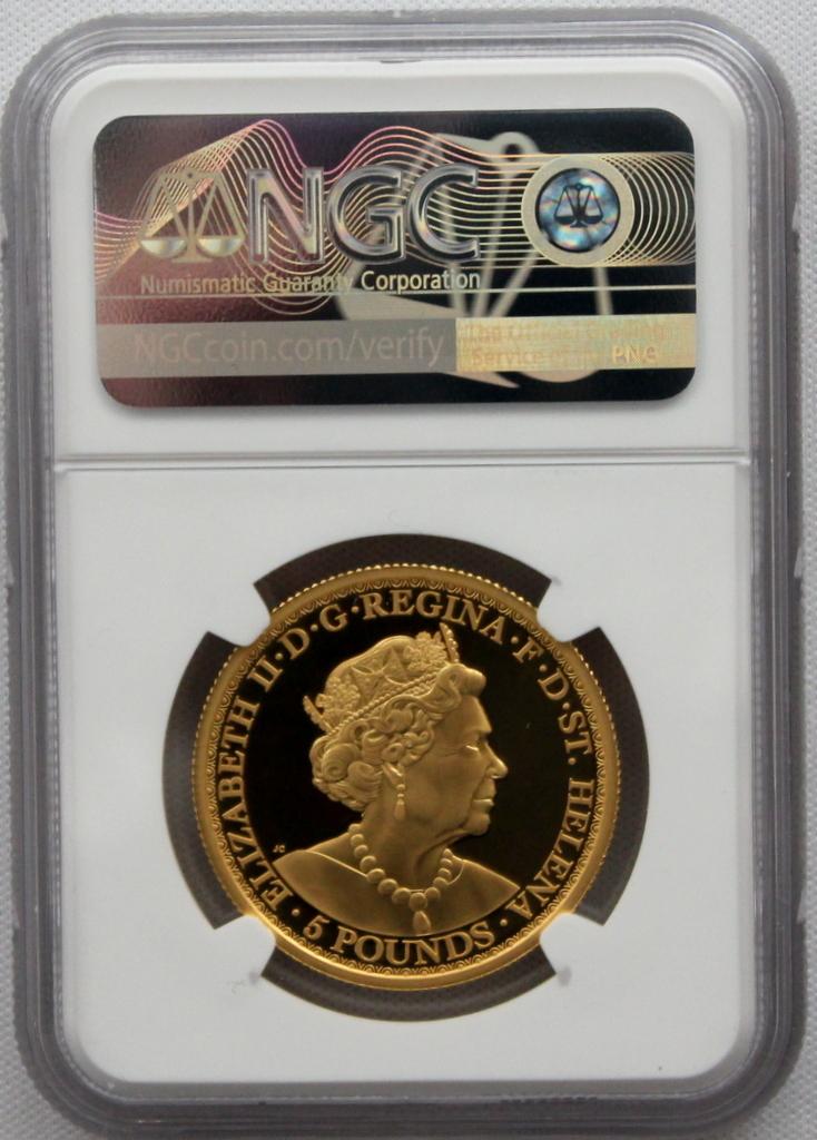 2020年 イギリス領 セントヘレナ ウナとライオン 5ポンド 金貨 NGC PF70UC 最高鑑定品!!_画像5
