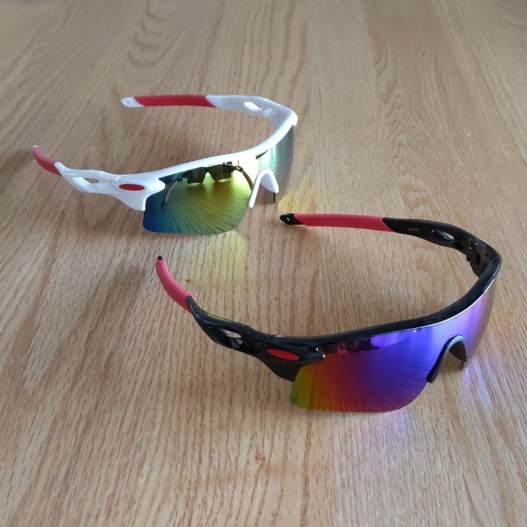 スポーツサングラス 2個セット!!男女兼用!自転車、ドライブ、野球、ゴルフ、釣り、スキーなど多種多様!