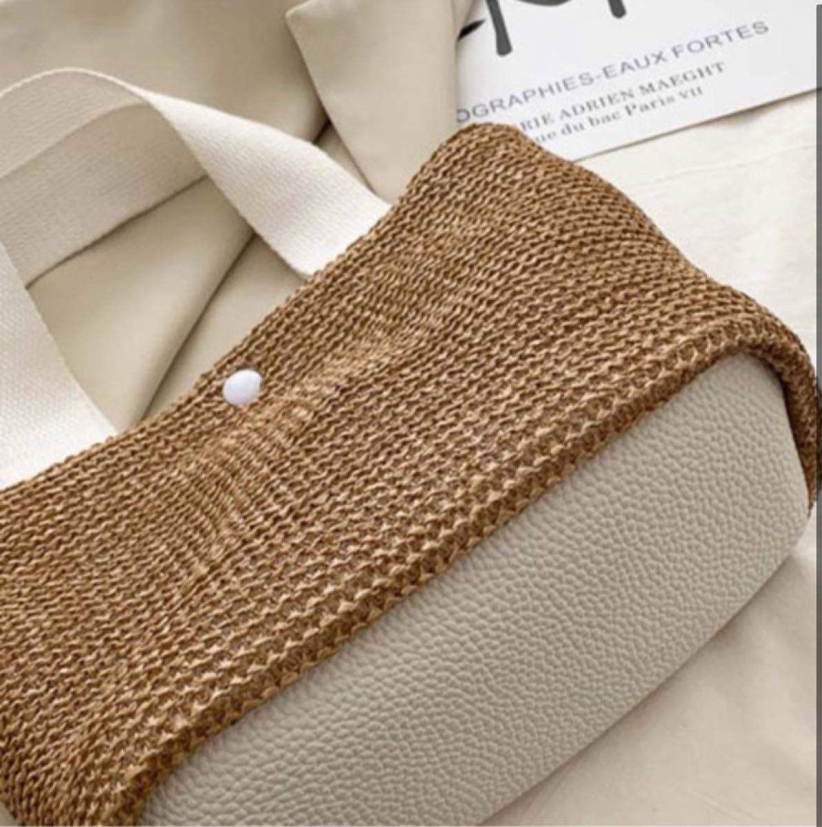 トートバッグ ホワイト ジュート 風 編み込み ミニバッグ 手提げ ランチバッグ 軽量 白 新品 韓国 即決OK