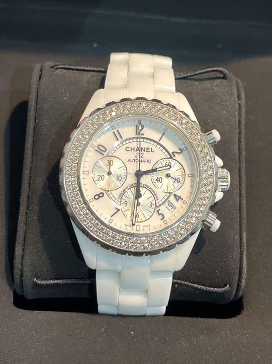 極美品 純正ダイヤ H1008 CHANEL J12 41ミリクロノ 腕時計 自動巻 シャネル