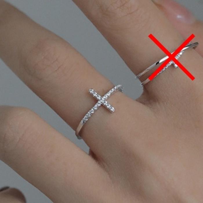 【送料無料】リング ジルコニア 指輪 十字架 クロス S925 刻印 シルバー キュービックジルコニア スターリングシルバー レディース R144_画像5