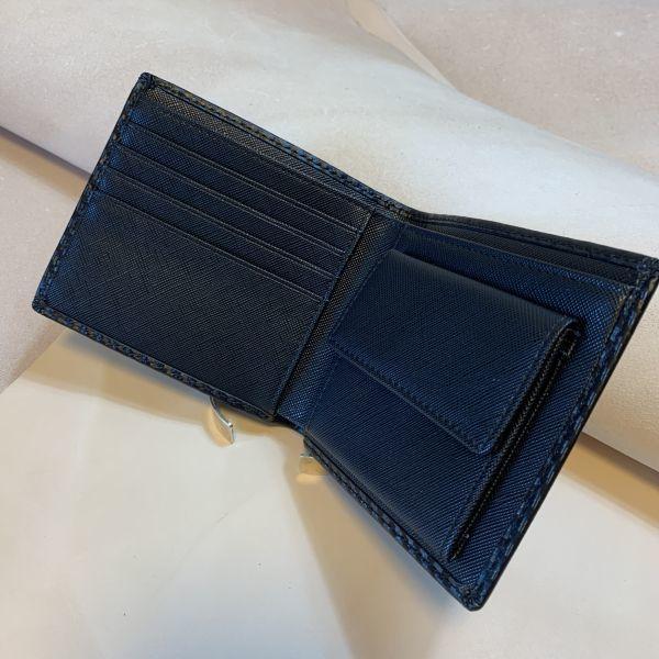 黒 ブラック ハンドメイド カーボンレザー 二つ折り財布 ウォレット コインケース 牛革 レザー メンズ財布 ビジネス 紳士 1円 一円_画像4